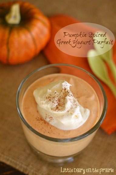 Pumpkin Pie Spiced Greek Yogurt Parfaits! Healthy enough for breakfast, yummy enough for dessert! Little Dairy on the Prairie