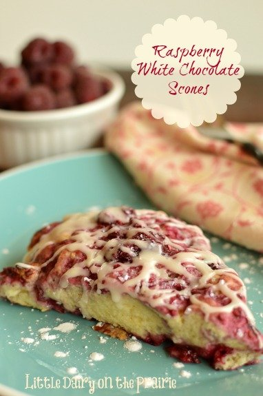 Raspberry White Chocolate Scones Iced with vanilla icing! Amazing for breakfast, brunch or even dessert! These are the best! Little Dairy on the Prairie