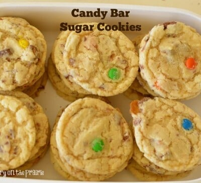 This is my very favorite sugar cookie recipe. How can you go wrong with adding a bunch of chopped up candy bars to it  Little Dairy on the Prairie