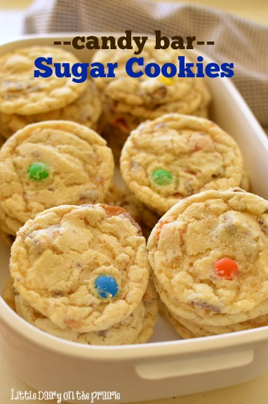 What to do with all the candy your cute little goblins bring home Make Candy Bar Sugar Cookies!  Little Dairy on the Prairie