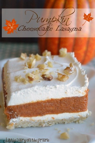 A melt in your mouth crust layered with spicy pumpkin and creamy cheesecake! Y-U-M!  Little Dairy on the Prairie