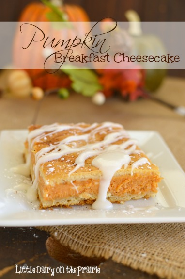 Pumpkin Breakfast Cheesecake takes only a few minutes to throw together and is pretty much the best fall breakfast EVER!  Little Dairy on the Prairie