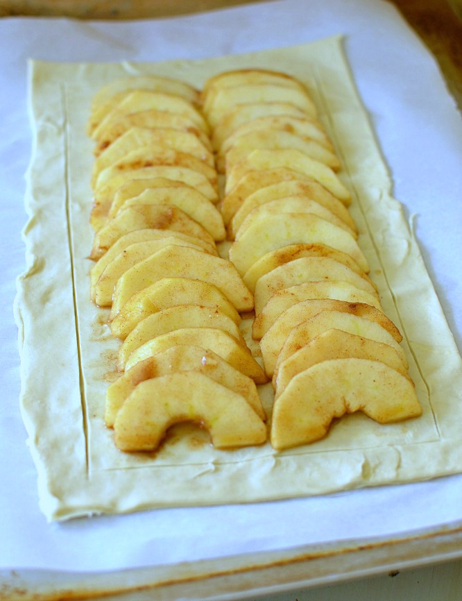 Simple Puff Pastry Apple Tart on a puff pastry crust