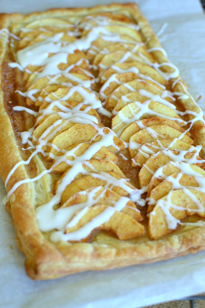 Simple Puff Pastry Apple Tart with vanilla icing, or serve with ice cream