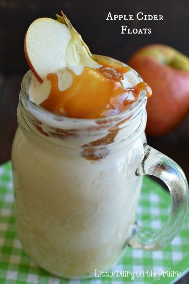 Apple Cider Float drizzled in caramel sauce! I'm swooning!  Little Dairy on the Prairie