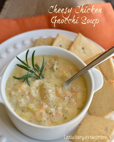 Cheesy Chicken Gnocchi Soup! Creamy, cheesy and hearty!  Little Dairy on the Prairie