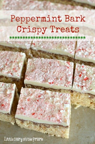 Rice Crispy treats are always the first treat to be eaten! Peppermint Bark Crispy Treats are a festive versions for Christmas!