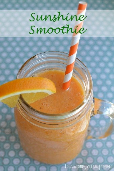 A smoothie packed with carrots, oranges and bananas! A perfect start to the day!  Little Dairy on the Prairie