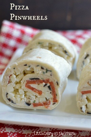 Easy Pizza Pinwheels! Perfect for a lunches, appetizers or snacks!  Little Dairy on the Prairie