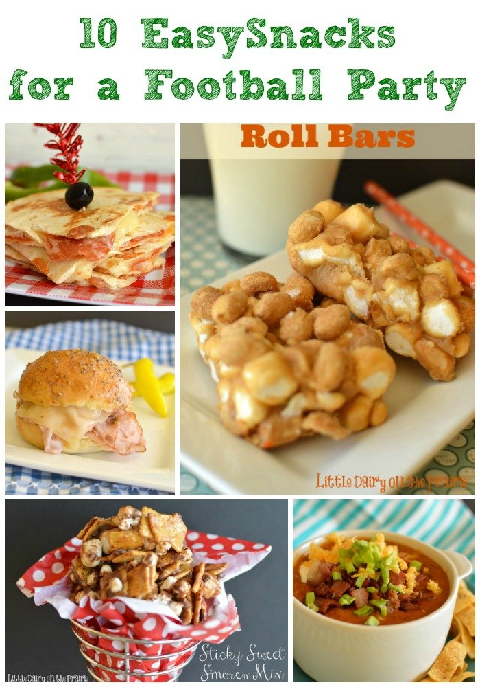 Let's face it...football is all about the food! Here's 10 easy and addicting snacks to turn the game into a party!  Little Dairy on the Prairie