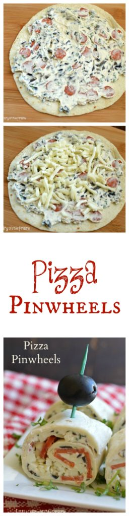 Pizza Pinwheels are a favorite appetizer, in a lunchbox or as a snack!  Little Dairy on the Prairie