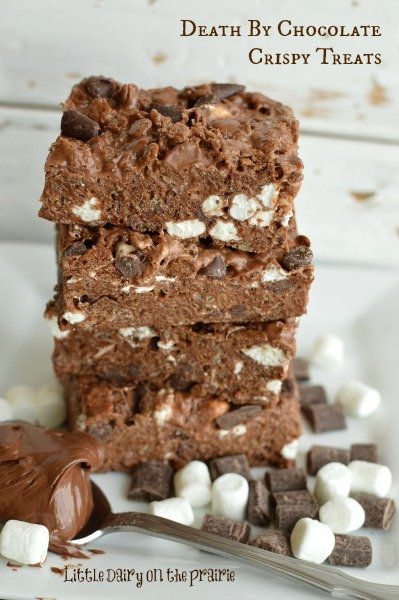 Death By Chocolate Crispy Treats! The most addicting (and easiest) dessert I have ever made!  Little Dairy on the Prairie