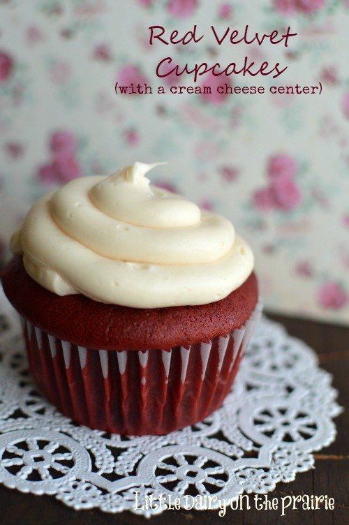 Red Velvet Cake and cream cheese frosting is classic. How about adding a cream cheese center too It's a new favorite! Little Dairy on the Prairie