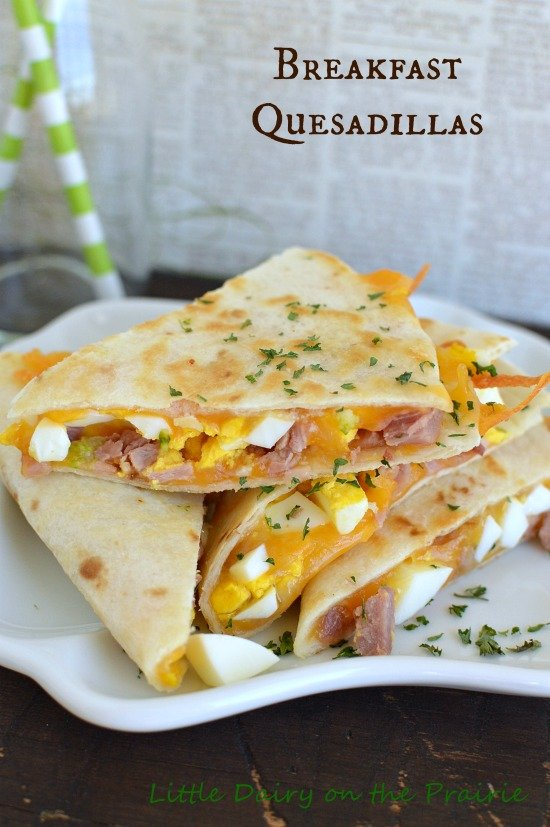 Breakfast Quesadillas! Deviled eggs and ham make these look perfect for using up Easter leftovers! Little Dairy on the Prairie