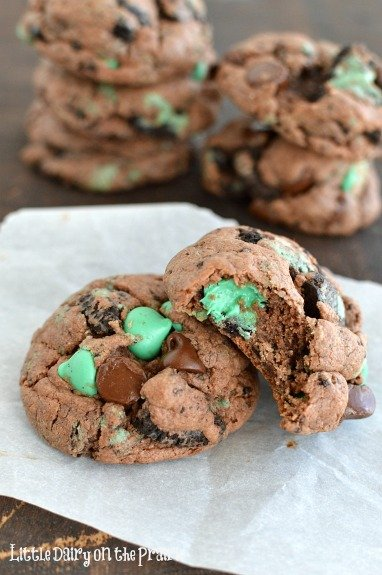 Chewy chocolate cookies. Every bite explodes with minty goodness! My favorite flavor combo every!  Little Dairy on the Prairie