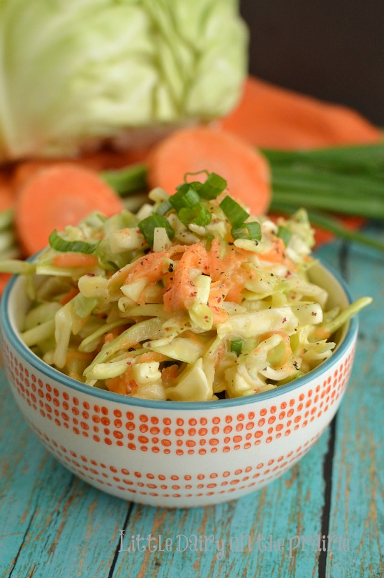 The creamy, flavor packed dressing on this coleslaw is the BEST! I get asked for the recipe all the time!  Little Dairy on the Prairie
