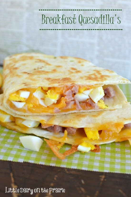 These breakfast quesadilla's remind me a little bit of and egg salad sandwich, only better! Little Dairy on the Prairie