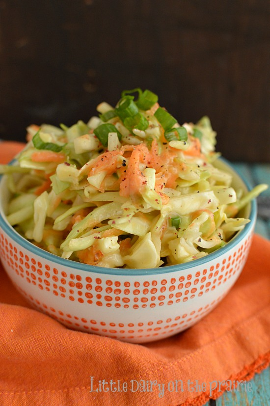 When my friend gave me this recipe she said it was a KFC Coleslaw copycat recipe, I think it's even better!  Little Dairy on the Prairie