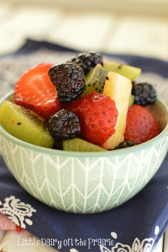 The yummiest fruit salad ever! It's so easy too! Little Dairy on the Prairie