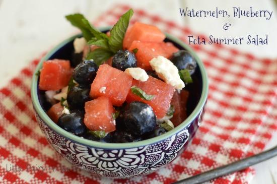 a fresh watermelon fruit salad in a blue bowl