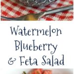 a collage with two images of watermelon salad plus text overlay