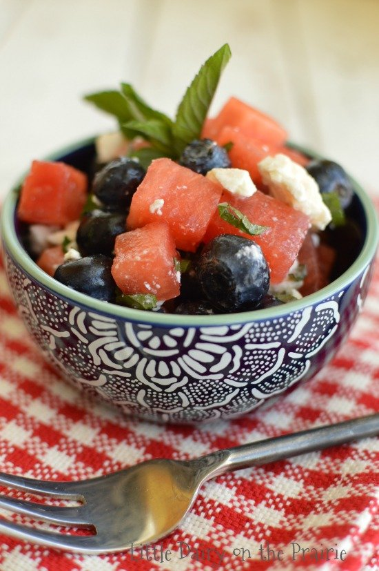 Watermelon, Blueberries and Feta make a simply refreshing summer salad! Especially festive for the Fourth of July! Little Dairy on the Prairie