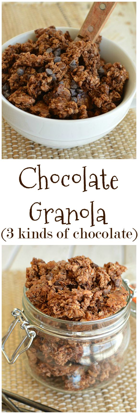 Chocolate Granola, because some mornings are just like that! And, because I'm such a fun mom, my kids get it in their lunchboxes too! Little Dairy on the Prairie