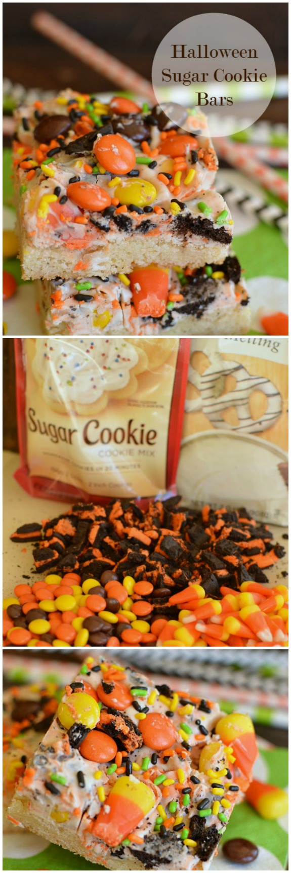 Halloween Sugar Cookie Bars! Melt in your mouth sugar cookies topped with Halloween candy bark! Quick and yummy!  Little Dairy on the Prairie