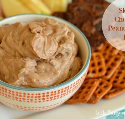 Skinny Chocolate Peanut Butter Dip is highly addicting!  Little Dairy on the Prairie