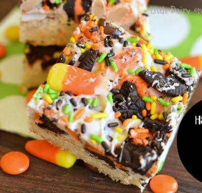 Yummy and Easy Halloween Sugar Cookie Bars topped with all kids of candy!  Little Dairy on the Prairie