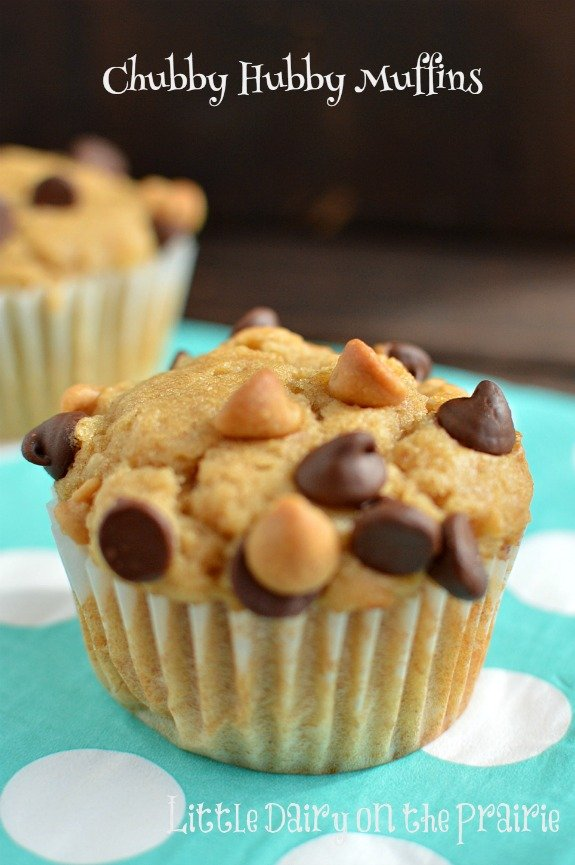 I'm going to be craving these peanut butter banana muffins for breakfast, lunch, and dinner! Little Dairy on the Prairie #banana muffins #peanut butter muffins #chubby hubby