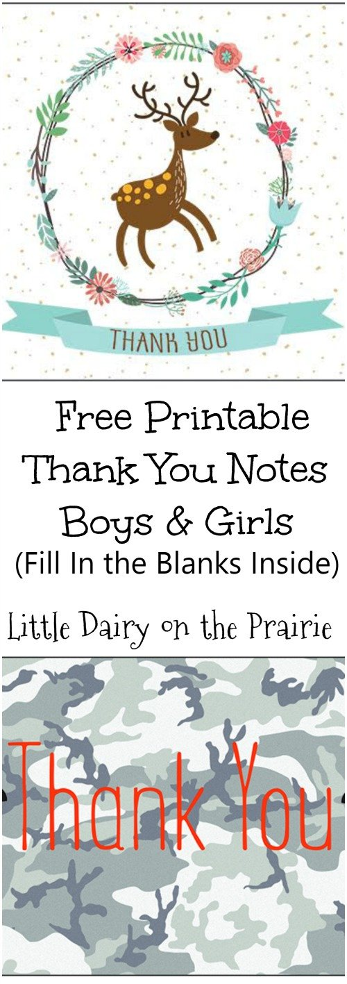 Adorable thank you notes with fill in the blanks spots, perfect for teaching kids how to write thank you notes!