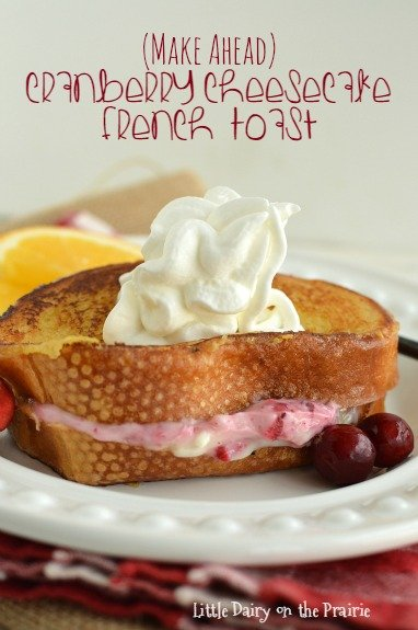 I make Cranberry Cheesecake French Toast the day before, let is hang out in the fridge overnight, and bake while I'm busy doing other things in the morning. This filling is divine!