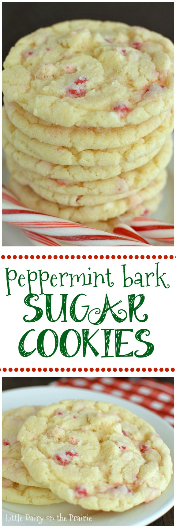 Peppermint Bark Sugar Cookies are a spin on the most popular recipe on my blog! They're melt in your mouth soft, quick and easy, to die for! Little Dairy on the Prairie