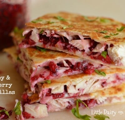 Turkey and Cranberry Quesadillas!  Leftovers never looked and tasted so good!