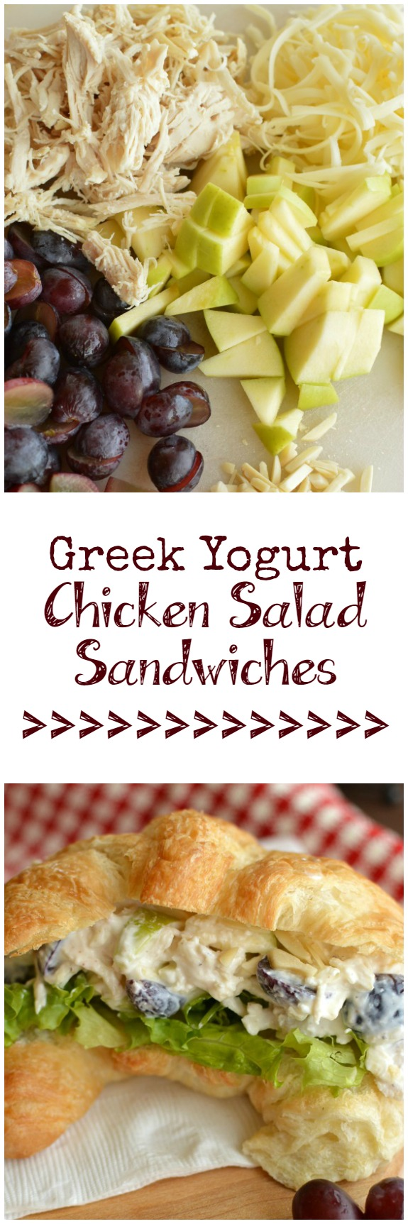 Greek Yogurt Chicken Salad Sandwiches, bursting with fruit, are my new favorite healthy meal! I switch the bread out and make it into a lettuce wrap! Yum! Little Dairy on the Prairie