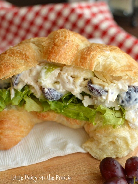 Chicken salad sandwich with grapes.