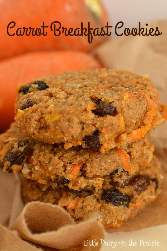 These carrot breakfast cookies are packed with nutrition and lots of flavor! They're a super easy breakfast on rushed mornings. They freeze well too! Little Dairy on the Prairie