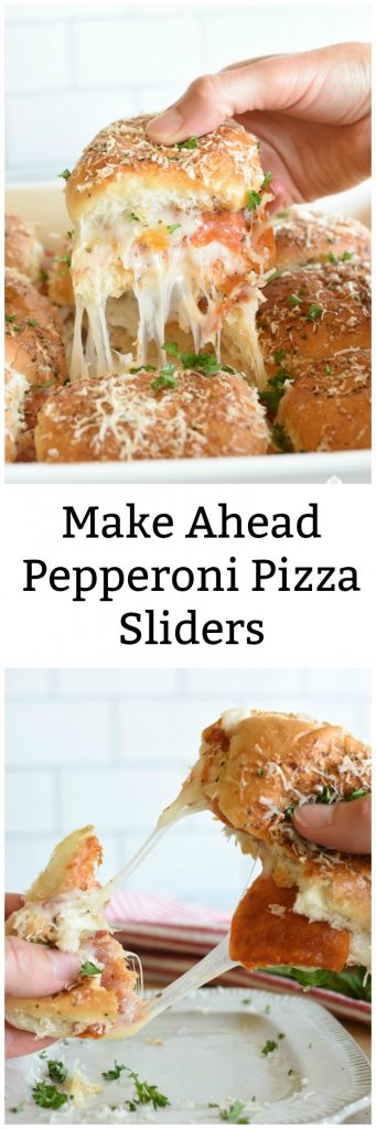 A long pinnable image of pepperoni pizza sliders