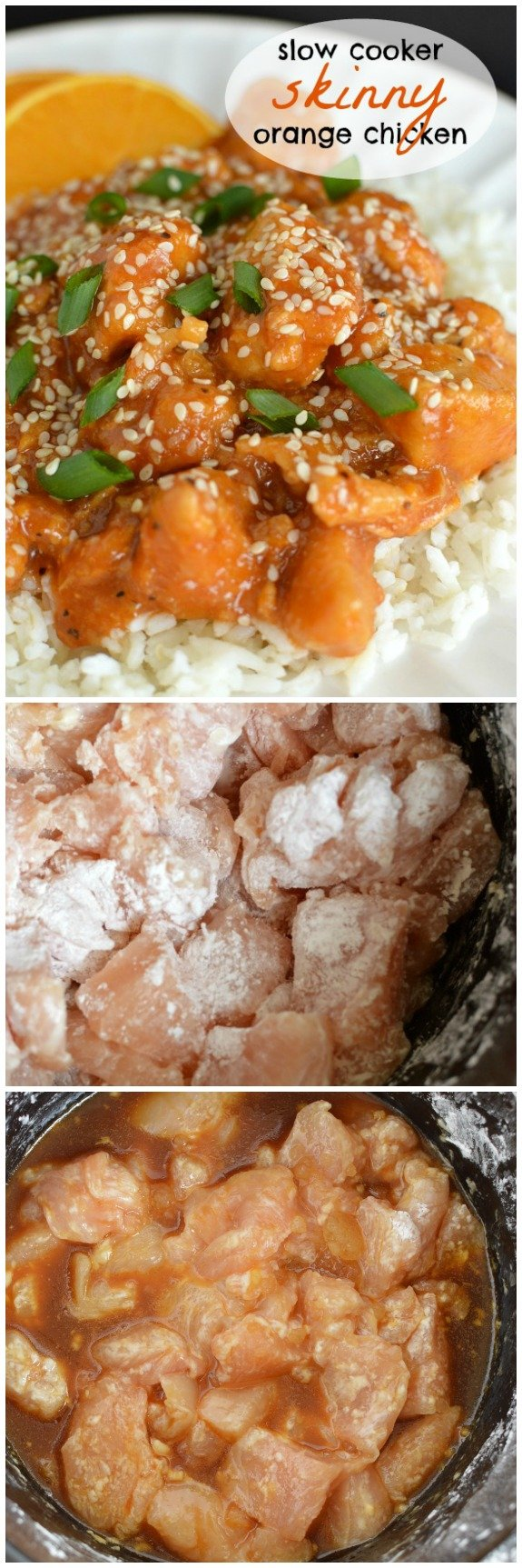 Slow Cooker Skinny Orange Chicken is bursting with sweet and a little spicy flavors! And it's so EASY that it works really well on my work days! Little Dairy on the Prairie
