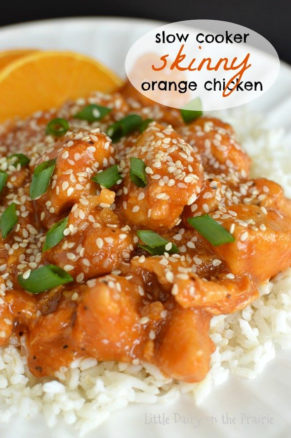 Slow Cooker Skinny Orange Chicken is exactly the kind of recipe I need on days that I'm working. It's a sweet, a little spicy, and so flavorful (oh and EASY!) Little Dairy on the Prairie