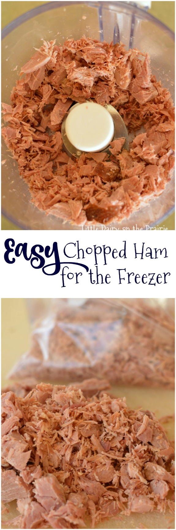 Anyone else need a head start on quick meals Chopped ham in the freezer is just the thing for countless quick meal options! It's what I do with all my  leftover ham!
