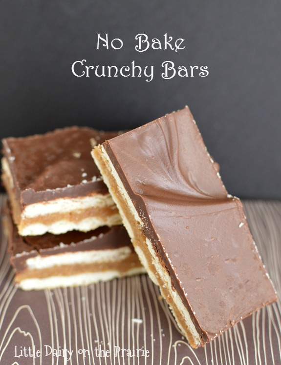 Crazy good & no bake, these crunchy bars are like a homemade version of a candy bar! So yummy! Little Dairy on the Prairie