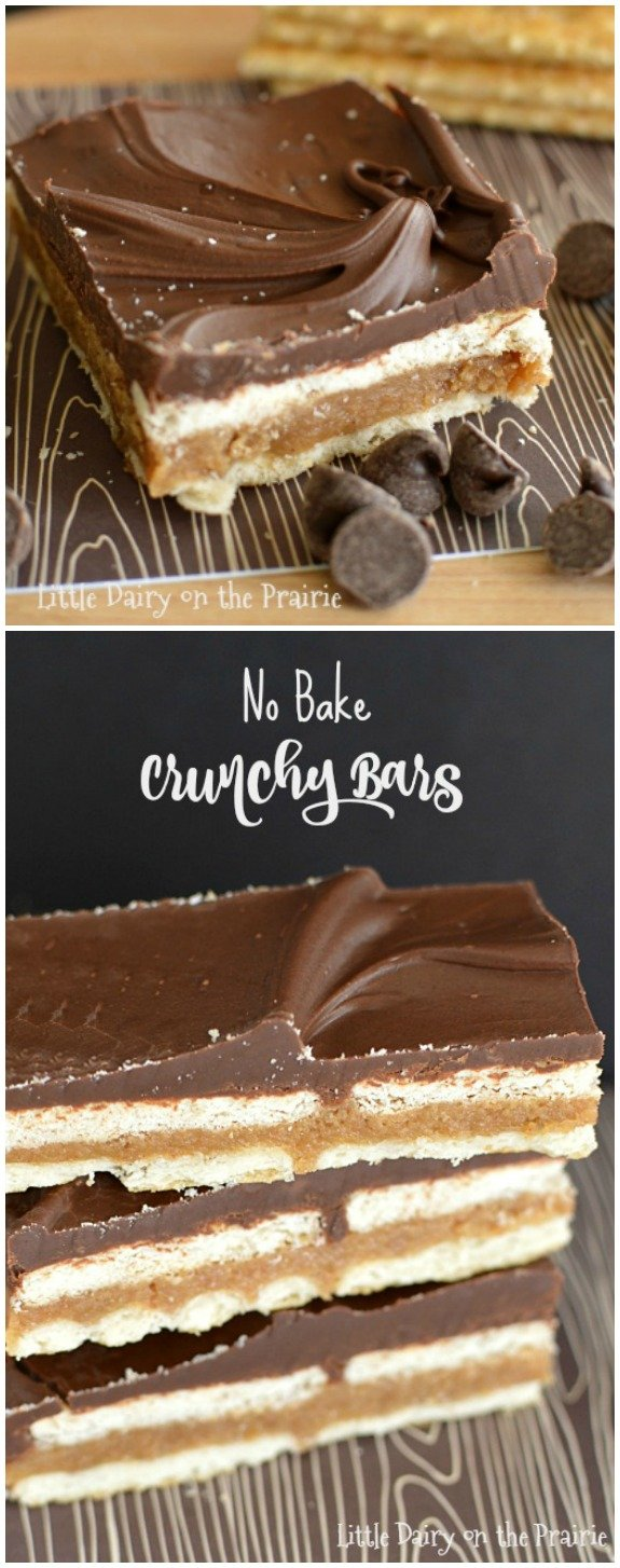 No bake treats are my life! Crunchy Bars are a favorite go to because they are so dang yummy, and because I always have the ingredients on hand! Little Dairy on the Prairie