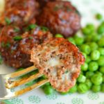 Baked BBQ Meatballs Stuffed with Mozzarella