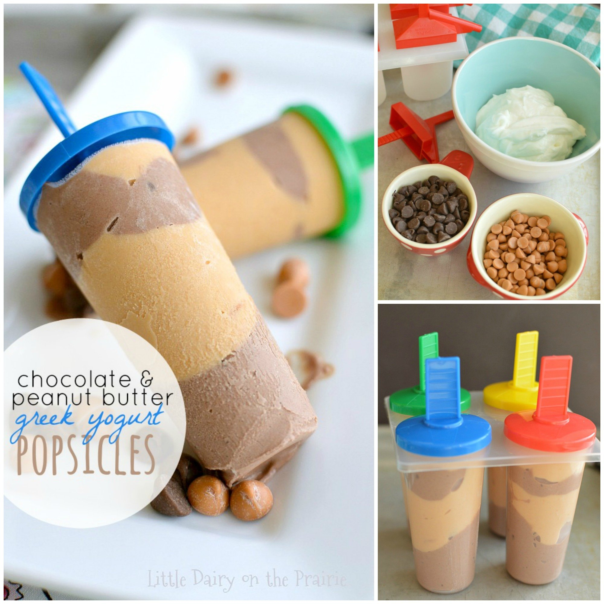 Cool off this summer with creamy and healthy Chocolate and Peanut Butter Greek Yogurt Popsicles!
