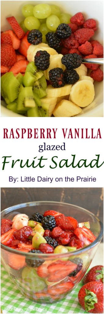 Fresh fruit tossed in a sweet and tangy raspberry vanilla glaze makes this the perfect summer salad!