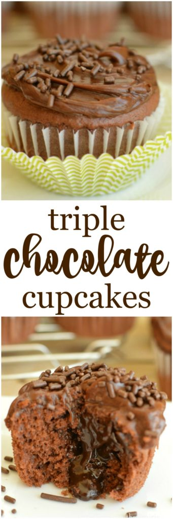 Triple Chocolate Cupcakes are just the thing for chocolate lovers! They are so much easier to make than you think!