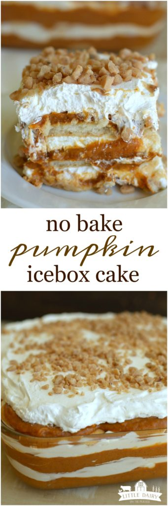Every layer of this No Bake Pumpkin Icebox Cake is divine! All the way from the cinnamon spiced pumpkin, to the cream cheese layer, and the crunchy toffee!