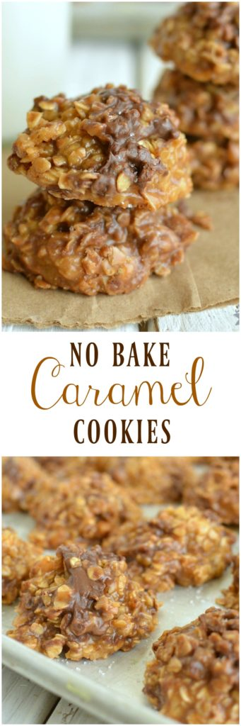 Smooth buttery caramel, crunchy toffee chips, and a chocolate chips come in a No Bake Caramel Cookie! What's not to love!